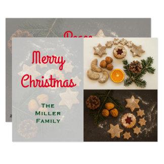 Cartão Biscoitos do feriado brilhantes e Feliz Natal
