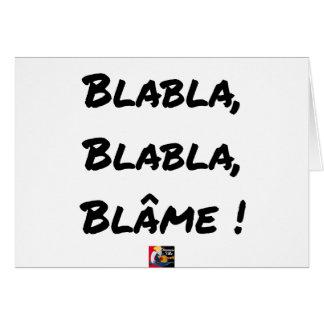 Cartão BLABLABLÁ, BLABLABLÁ, REPREENDE! - Jogos de