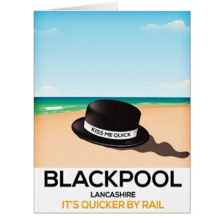 """Cartão Blackpool """"beija-me rapidamente"""" poster do trilho"""