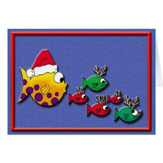 Cartão Blowfish do papai noel