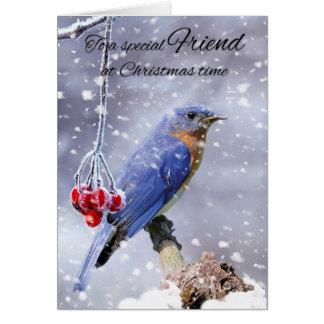 Cartão Bluebird do amigo no feriado de inverno da neve