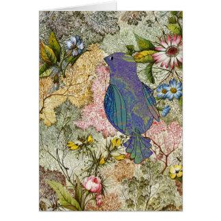 Cartão Bluebird em um jardim