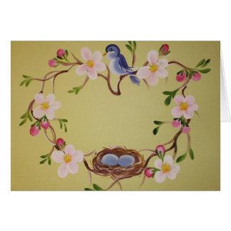 Cartão Bluebird & flores de Apple