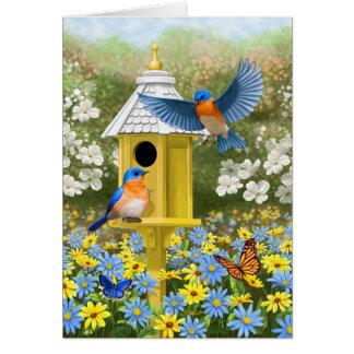 Cartão Bluebirds e azul do Birdhouse do hexágono