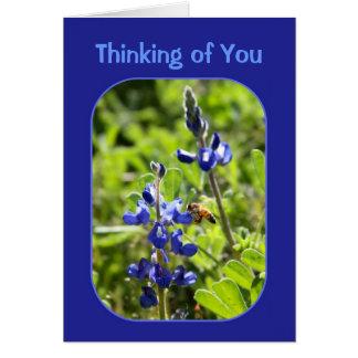 Cartão Bluebonnets de Texas que pensam de você