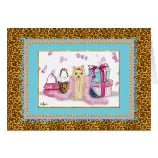 Cartão Boa de pena cor-de-rosa do yorkshire terrier