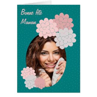 Cartão boa festa mamã flores e fotografia 01 verde