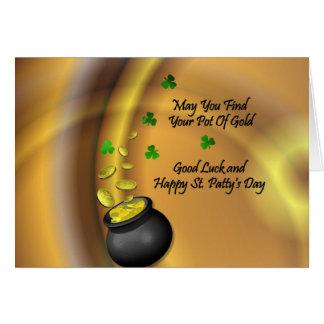 Cartão Boa sorte e St. feliz Patty' dia de s