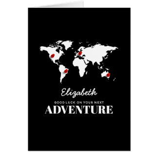 Cartão Boa sorte em seu bon voyage seguinte da aventura |