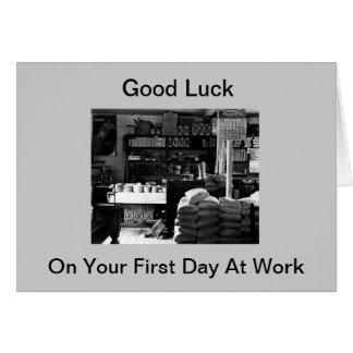 Cartão Boa sorte em seu primeiro dia no trabalho