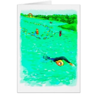 Cartão Boa sorte para Triathlete - nadando fora do curso