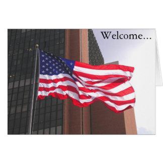 Cartão Boa vinda a América!  Congratualtions/cidadania