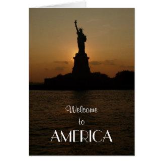 Cartão Boa vinda a América/estátua da liberdade+Cidadão