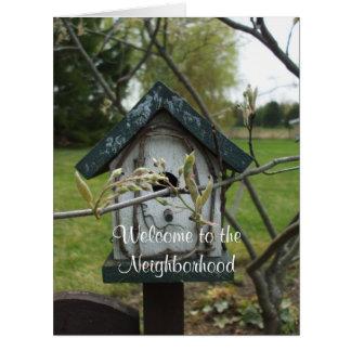 Cartão Boa vinda à casa do Vizinhança-Pássaro