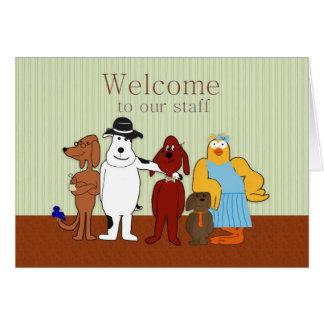 Cartão Boa vinda a nossos funcionarios, cómicos, animais