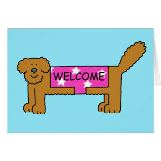 Cartão Boa vinda ao clube/vizinhança, cão no revestimento