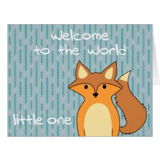 Cartão Boa vinda ao mundo - pouco Fox