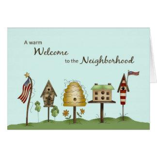 Cartão Boa vinda aos Birdhouses & às bandeiras da