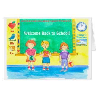 Cartão Boa vinda de volta aos miúdos da sala de aula da