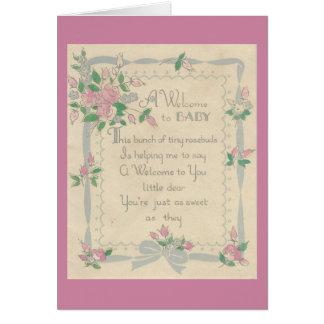 Cartão Boa vinda do vintage ao bebê com rosas