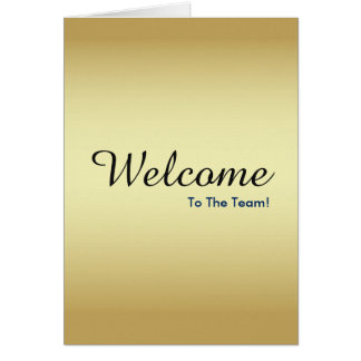 Cartão Boa vinda nova do empregado do ouro do falso