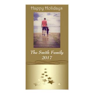 """Cartão """"Boas festas"""" árvore de Natal do ouro no ouro"""