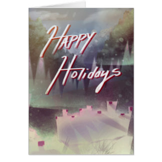 Cartão Boas festas árvores do inverno