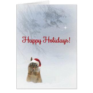 Cartão Boas festas bastão bonito super do Chipmunk e de