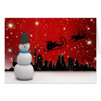 Cartão Boas festas boneco de neve