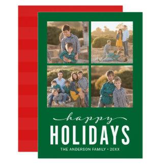 Cartão Boas festas colagem moderna vermelha verde da foto