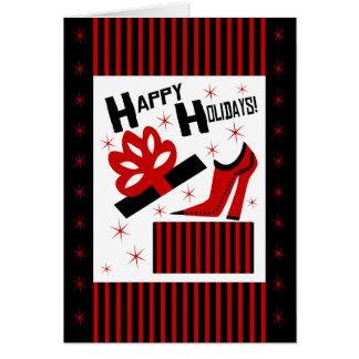 Cartão Boas festas! Com a bota e a caixa de presente