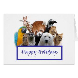 Cartão Boas festas de nosso jardim zoológico!