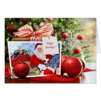 Cartão Boas festas do papai noel e das suas doninhas