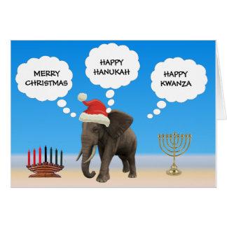 Cartão Boas festas elefante