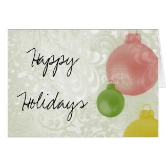 Cartão Boas festas: Enfeites de natal coloridos