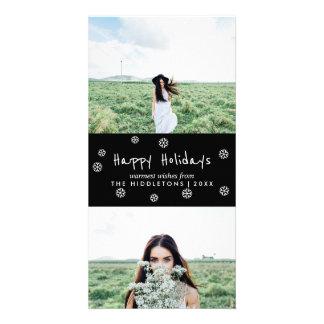 Cartão Boas festas foto branca simples do feriado do