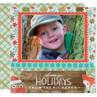 Cartão Boas festas foto do Natal do divertimento do Fox e
