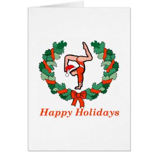 Cartão Boas festas grinalda ginástica