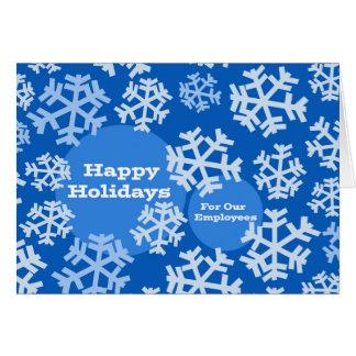 Cartão Boas festas para empregados, negócio, flocos de