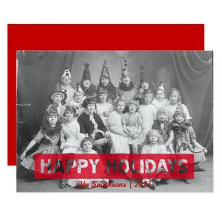 Cartão Boas festas texto reverso vermelho