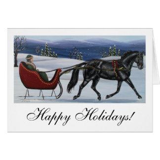 Cartão Boas festas um trenó aberto do cavalo