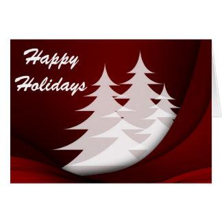 Cartão Boas festas, vermelho com árvores brancas