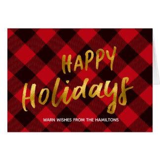 Cartão Boas festas xadrez do búfalo & Natal vermelhos do