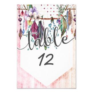 Cartão Boho Dreamcatcher & penas que Wedding números da