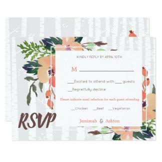 Cartão Boho floral e vidoeiro RSVP Wedding rústico