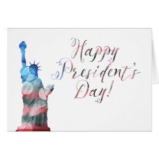 Cartão Bokeh da liberdade do Dia do presidente feliz