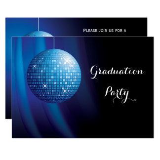 Cartão Bola azul do disco do partido da graduação