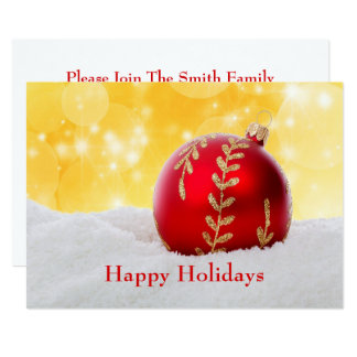 Cartão Bola do Natal da neve de Bokeh do Natal