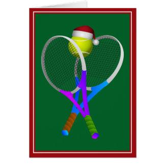 Cartão Bola e raquetes de tênis do Natal