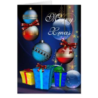 Cartão Bolas alegres do Natal das caixas de presente do